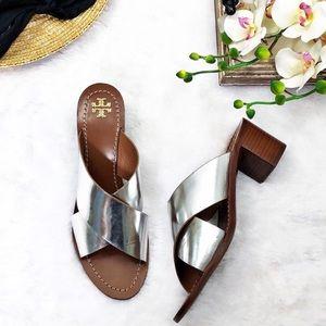 Tory Burch Montrose Silver Sandals Sz 10